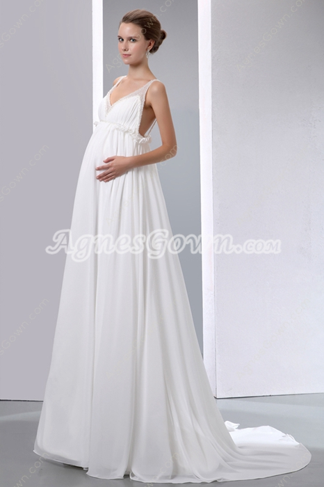 Grecian Maternity Wedding Dress With Beads