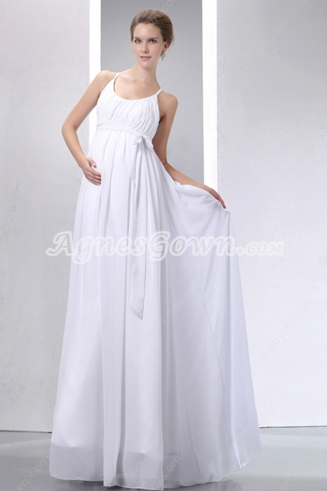 Romantic Scoop Neckline Empire Maternity Wedding Dress