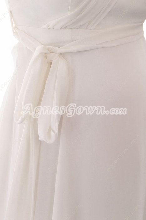 Noble One Shoulder Empire Chiffon Maternity Wedding Dress