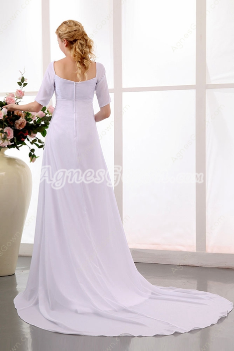 Modest Half Sleeves Chiffon Wedding Dress For Pregnancy Women