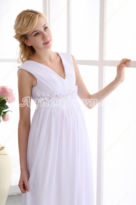 Charming V-Neckline Empire Maternity Wedding Gown