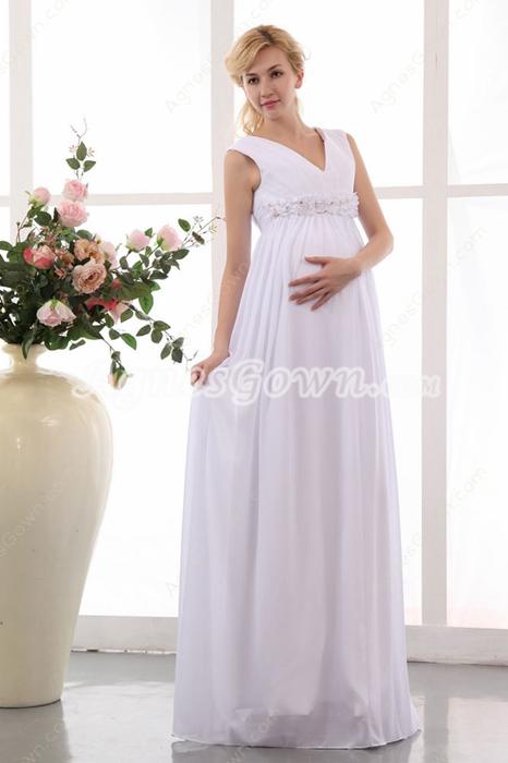 Charming V-Neckline Empire Maternity Wedding Gown