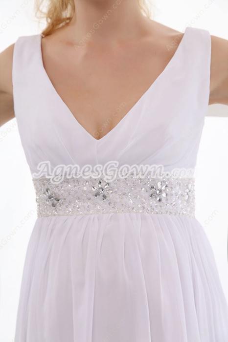 V-Neckline White Chiffon Wedding Dress For Maternity Women
