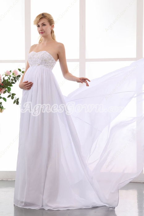 Grecian Sweetheart Empire Maternity Wedding Dress With Gold Embroidery
