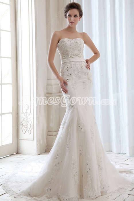 Flattering Beaded Fishtail Wedding Dress Luxury