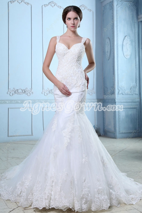 Lace Wedding Dresses,Terrific Low-Cut Straps Fishtail/Mermaid Lace ...