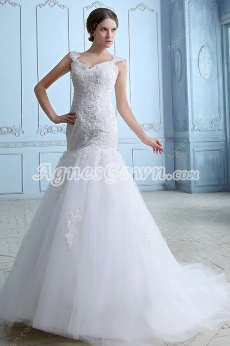 Beautiful Straps Sheath Full Length Lace Wedding Dress
