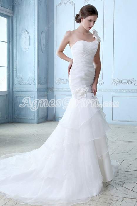 Breathtaking One Shoulder Organza Bridal Gown 2016