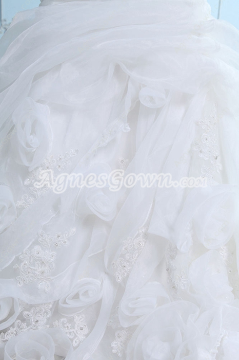 Retro Strapless Sheath Organza Wedding Dress With Exquisite Handwork