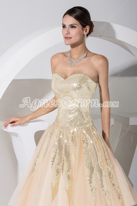 Perfect Champagne Sequined Princess Sweet 16 Dress
