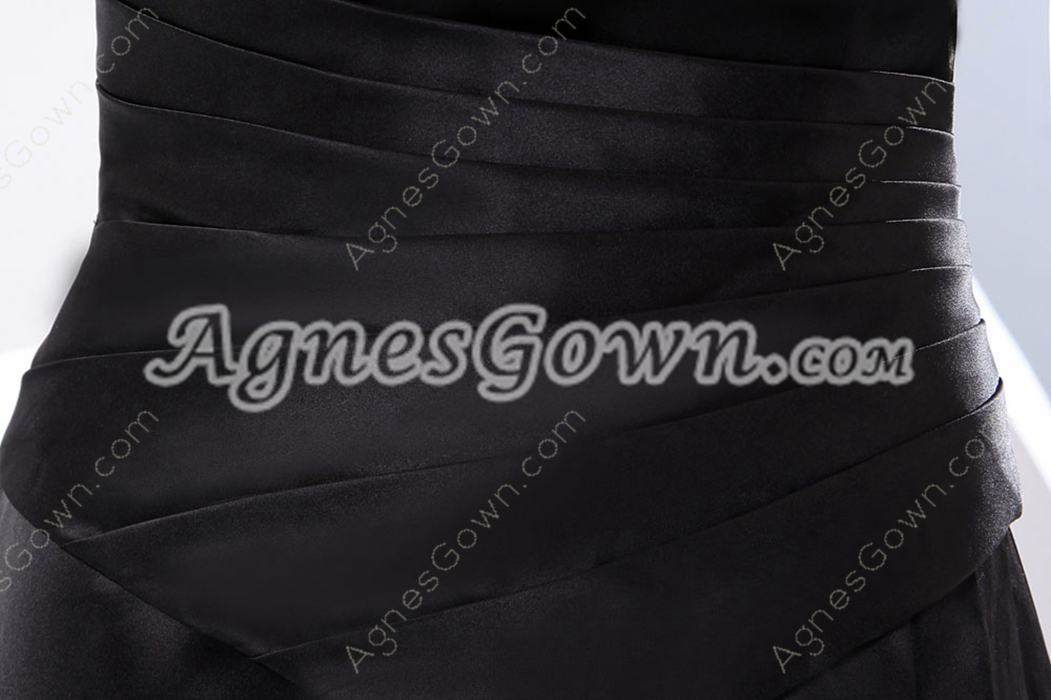 Strapless A-line Black Satin Long Mother Dress