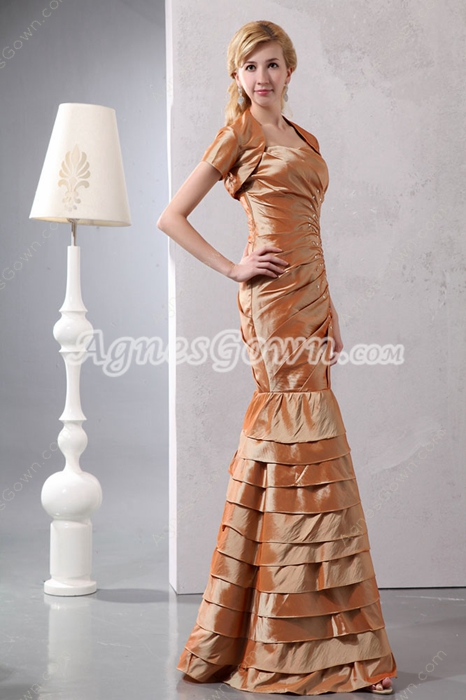 Sheath Full Length Taffeta Mother Of The Bride Dress With Jacket