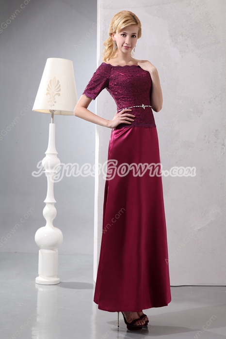 Off The Shoulder Ankle Length Maroon Mother Of The Groom Dress