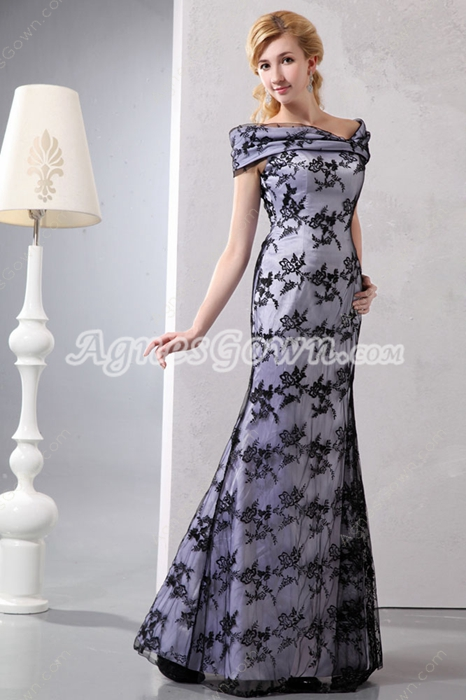 Glamour Off The Shoulder Black Lace Mother Of The Bride Dress