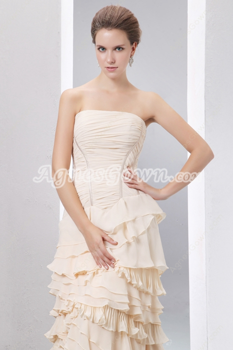 Complicated Light Champagne Prom Pageant Dress