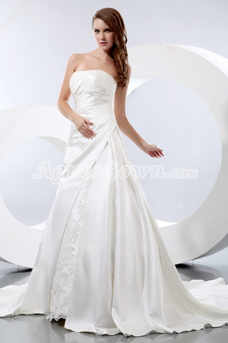 Classical Strapless A-line Satin Wedding Dress With Buttons