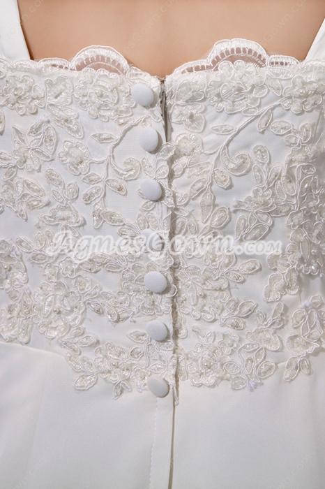 Romantic Straps Ivory Chiffon Destination Wedding Dress