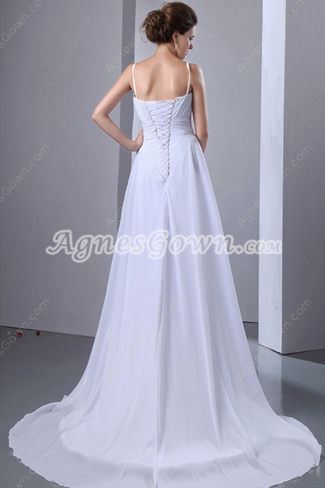 Glamour Spaghetti Straps Chiffon Plus Size Beach Wedding Dress
