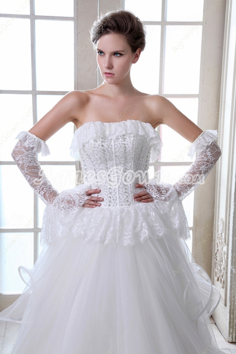 Exclusive Jeweled Plus Size Wedding Dress With Peplum