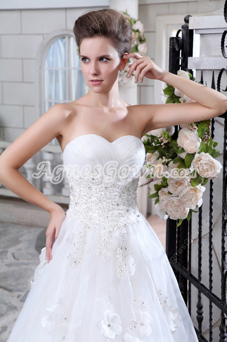 Sweet Jeweled Princess Organza Wedding Dress