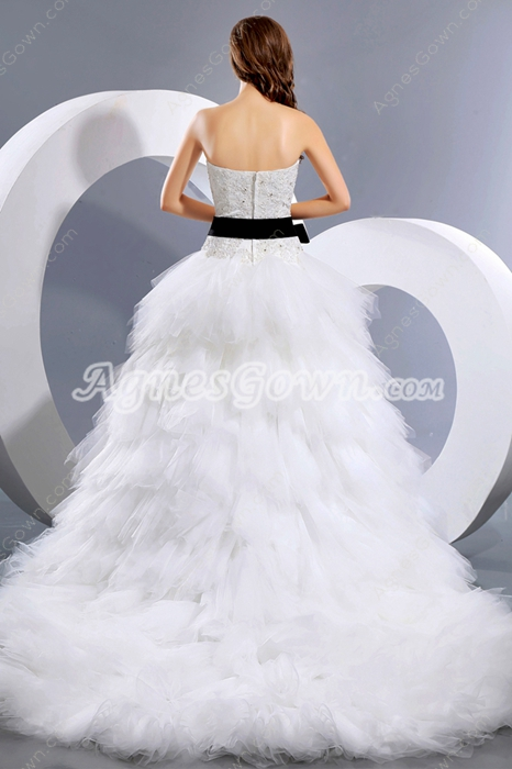 Fantastic Multi Layered Tulle Wedding Dress With Lace Appliques