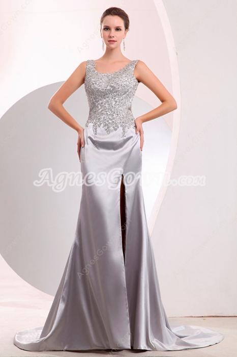 Hot Backless Silver Satin Evening Dress High Slit