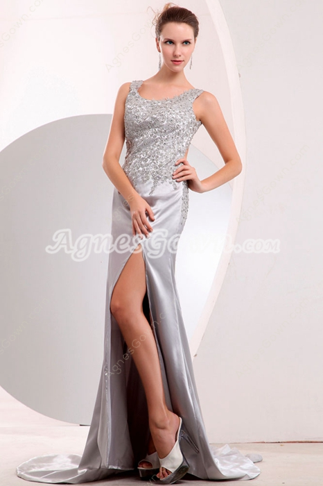 Hot Backless Silver Satin Evening Dress High Slit