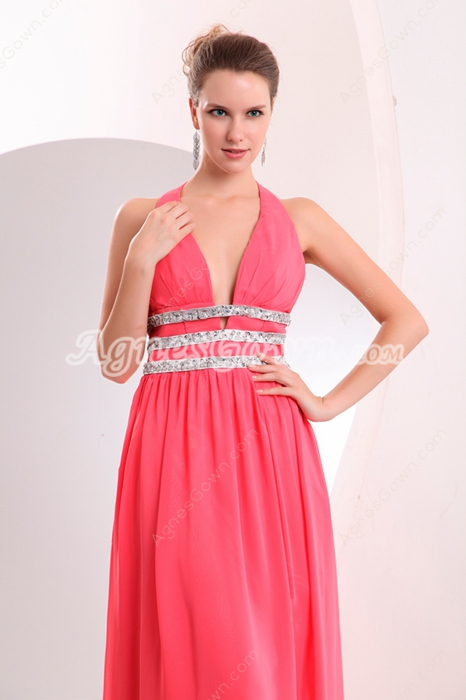 Plunge Neckline A-line Full Length Watermelon Chiffon College Graduation Dress