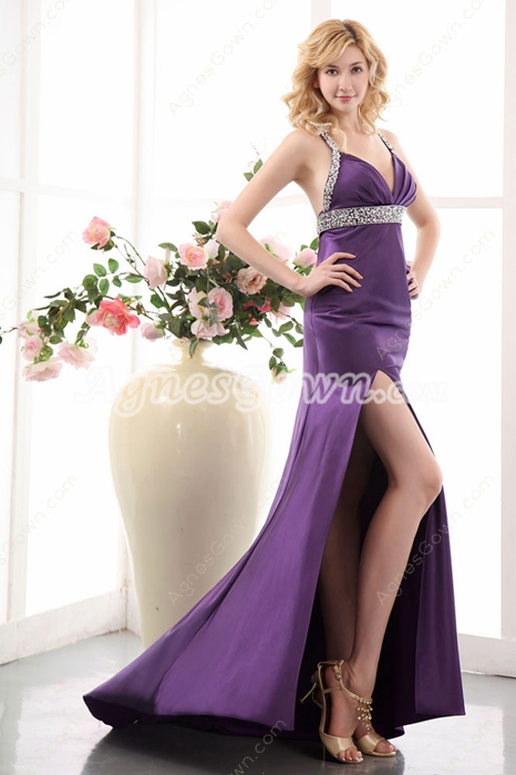 Sexy Straps Purple Satin Cocktail Dress High Slit