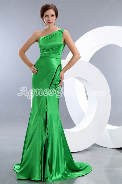 Elastic Satin Green Formal Evening Dress