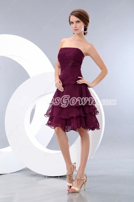 Puffy Knee Length Grape Colored Damas Dress
