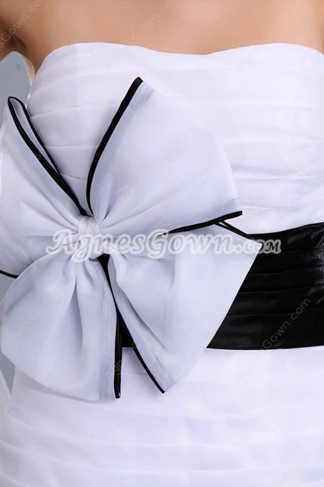 Sheath Mini Length White & Black Cocktail Dress