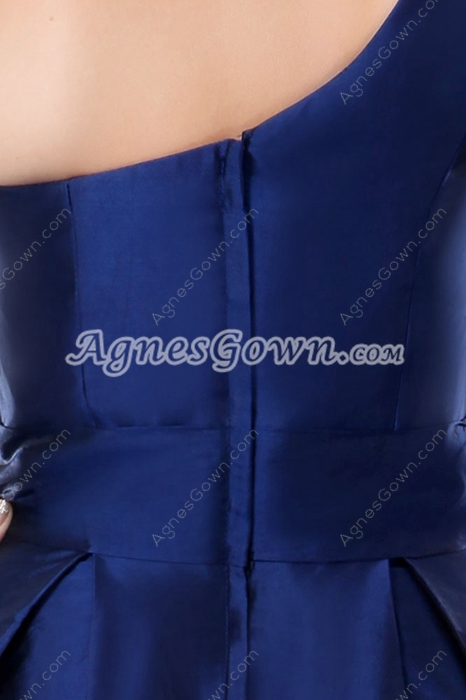 Tea Length One Shoulder Dark Royal Blue Junior Prom Party Dress