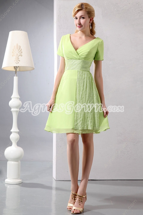 Short Sleeves Knee Length Lime Green Wedding Guest Dress