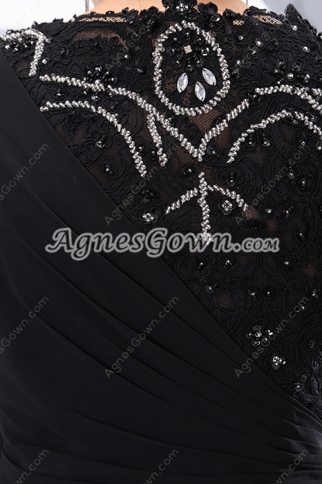 Jewel Neckline A-line Black Chiffon Prom Party Dress