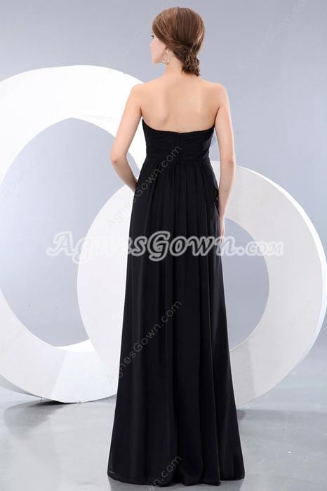 Empire Full Length Black Chiffon Maternity Prom Dress