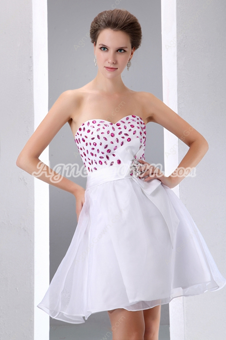 Cute Puffy Mini Length Sweet Sixteen Damas Dress With Rhinestones
