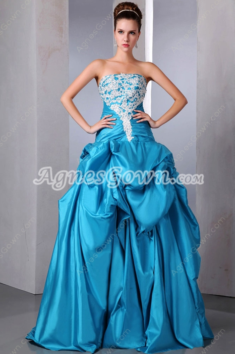 Dropped Waist Blue Quinceanera Dress