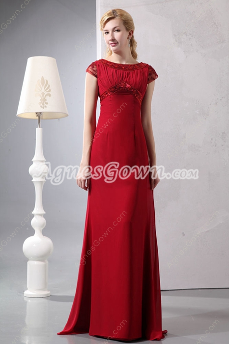 Short Sleeves A-line Red Mother Of The Bride Dress