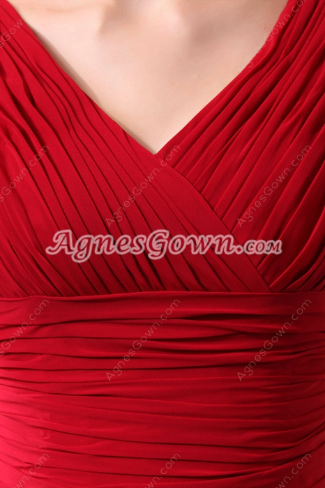 Vintage V-Neckline A-line Full Length Red Chiffon Mother Of The Bride Dress