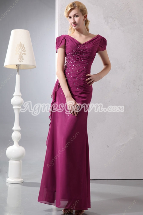 Charming Off The Shoulder Fuchsia Mother Of The Bride Dress