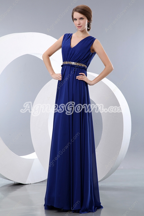 V-Neckline Royal Blue Chiffon Plus Size Prom Dress