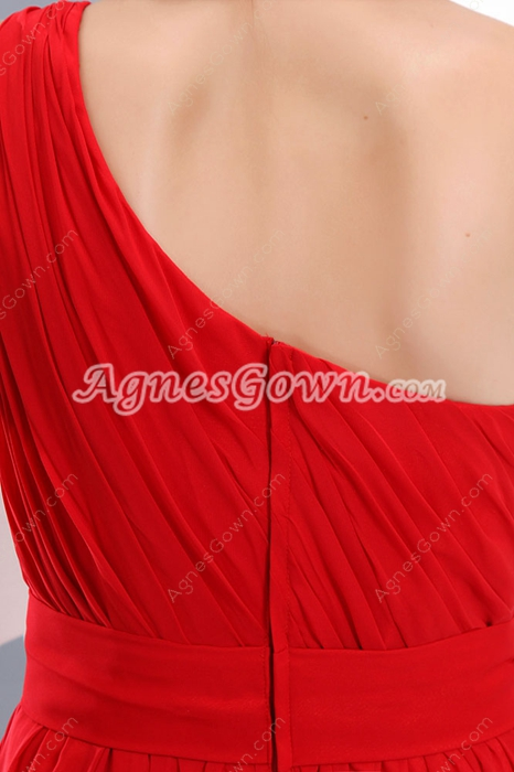 Vintage One Shoulder Bloody Red Vampire Prom Party Dress