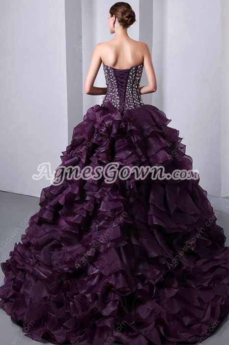 Amazing Multi Layered Grape Quincenera Dress With Rhinestones