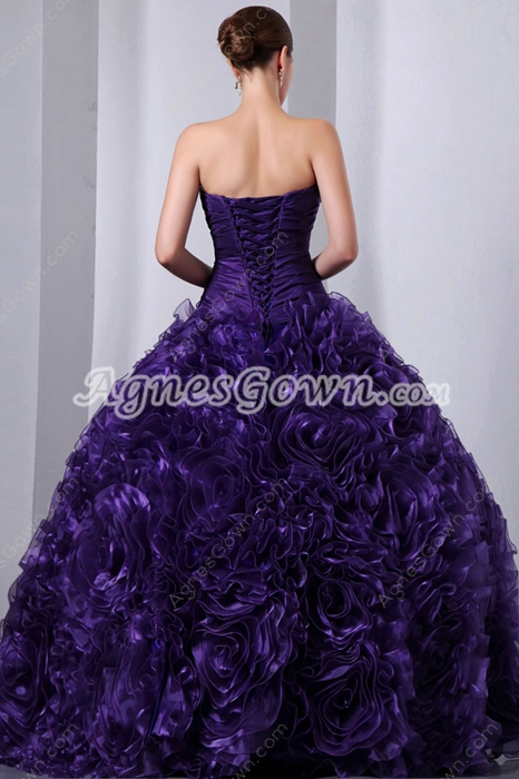 Gorgeous Ball Gown Floral Purple Quince Dress 2016