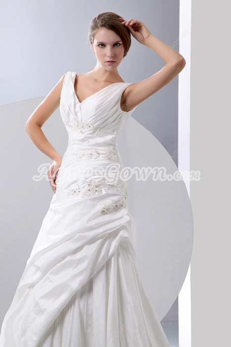 Graceful V-neckline Taffeta Wedding Dress Dropped Waist
