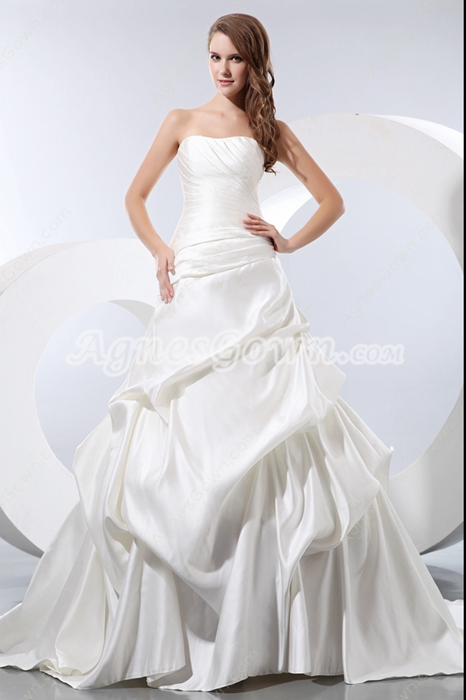 Dipped Neckline Matte Satin Wedding Dress