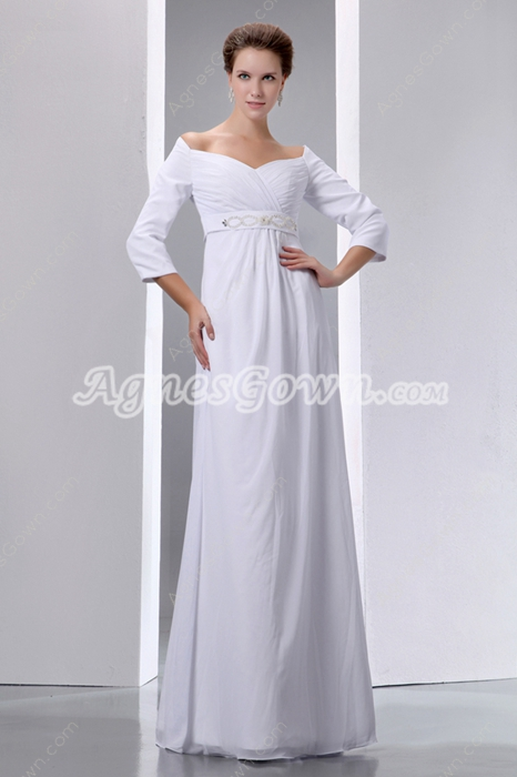 Off The Shoulder 3/4 Sleeves Maternity Wedding Gown