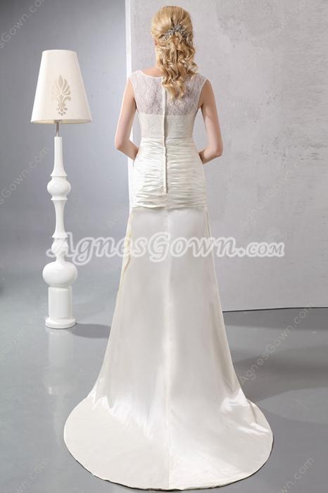 Elegance Scoop Neckline Ivory Satin Beach Wedding Dress