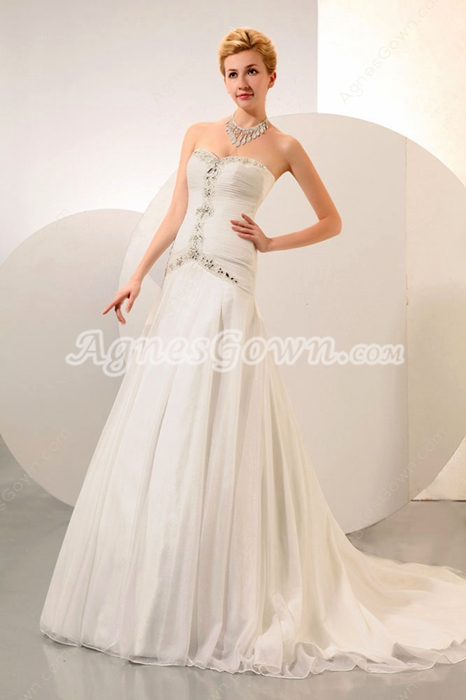 Dropped Waist Ivory Chiffon Destination Wedding Dress